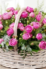 Preview iPhone wallpaper Pink roses, basket, room