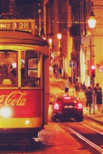 Preview iPhone wallpaper Portugal, Lisbon, tram, city, night, road, people, buildings