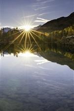 Preview iPhone wallpaper Poschiavo, mountains, trees, lake, Switzerland