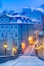 Preview iPhone wallpaper Prague, night, lights, path, house, snow, winter