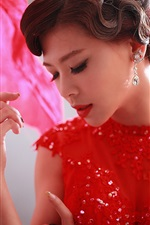 Preview iPhone wallpaper Red dress Chinese girl, pose