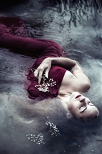 Preview iPhone wallpaper Red dress girl sleep in water