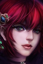 Preview iPhone wallpaper Red hair fantasy girl, face