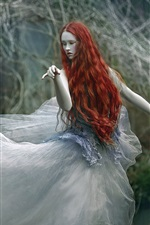 Preview iPhone wallpaper Red hair girl, forest, pose