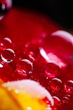 Preview iPhone wallpaper Red leaf, water drops, bright