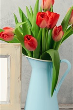Preview iPhone wallpaper Red tulips, vase, Happy March 8