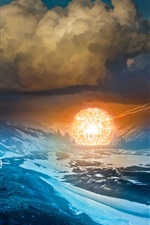 Preview iPhone wallpaper Romantically Apocalyptic, mountains, clouds, human, lights ball, art picture