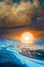 Romântica Apocalíptico, montanhas, nuvens, humano, bola de luzes, foto de arte