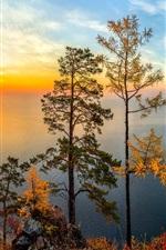 Preview iPhone wallpaper Russia, Lake Baikal, Siberia, trees, sunset, mountains