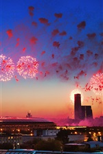 Preview iPhone wallpaper Russia, May 9, Victory Day, Moscow, fireworks, night, city