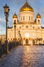 Preview iPhone wallpaper Russia, Moscow, Palace, cathedral, bridge, lights