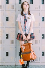 Preview iPhone wallpaper School girl, bag, lockers