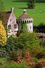 Preview iPhone wallpaper Scotney Castle, England, trees, flowers, grass