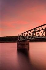 Preview iPhone wallpaper Sea, bay, bridge, sunset