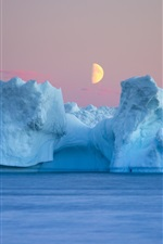 Sea, iceberg, moon, dusk