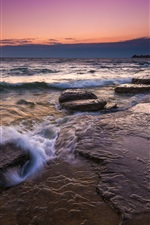 Preview iPhone wallpaper Sea, rocks, stream, morning