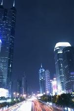Shenzhen, city night, skyscrapers, road, lights, China