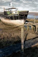 Preview iPhone wallpaper Ship, lake, bridge