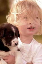 Preview iPhone wallpaper Short hair child girl and puppy