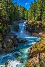 Preview iPhone wallpaper Silver Falls State Park, Washington, USA, stream, trees, rocks