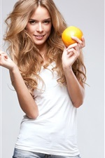 Preview iPhone wallpaper Smile blonde girl, oranges