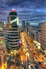 Preview iPhone wallpaper Spain, Madrid, city street, road, buildings, night, lights
