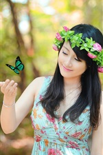 Preview iPhone wallpaper Spring Asian girl smile, butterfly, rose flowers