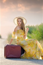 Preview iPhone wallpaper Summer dress blonde girl, hat, suitcases, road, sun