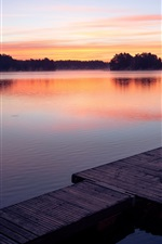 Preview iPhone wallpaper Sunset, lake, dock
