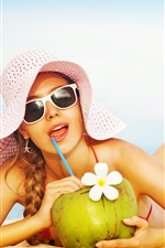 Preview iPhone wallpaper Swimsuit girl, beach, hat, coco drinks