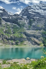 Preview iPhone wallpaper Switzerland, Bernese Alps, lake, mountains, wildflowers