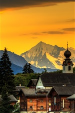 Preview iPhone wallpaper Switzerland, glow, town, mountains, dusk