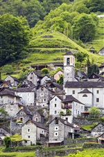 Switzerland, slope, mountain, houses, trees