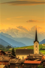 Preview iPhone wallpaper Switzerland, valley, town, forest, clouds, mountains