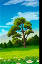 Preview iPhone wallpaper Trees, chamomile, grass, mountains, vector picture