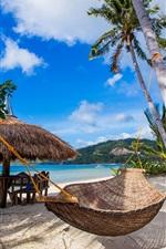 Preview iPhone wallpaper Tropics, palm trees, beach, coast, hammock, blue sky