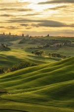 Preview iPhone wallpaper Tuscany, Italy, hills, green, trees, clouds, sunset