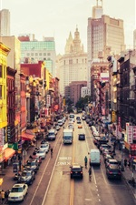 Preview iPhone wallpaper United States, New York, Manhattan, East Broadway, Chinatown, street, city