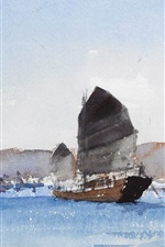 Preview iPhone wallpaper Watercolor painting, seascape, boat
