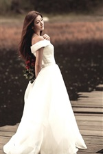 Preview iPhone wallpaper White dress Asian girl, long hair, back view, pier