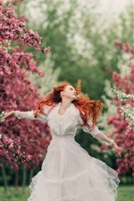 White dress girl, red hair, spring, flowers