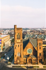 Preview iPhone wallpaper Wisconsin, Milwaukee, United States, church, street, city, buildings
