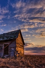 Preview iPhone wallpaper Wood house, grass, sunset