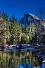 Preview iPhone wallpaper Yosemite National Park, California, USA, river, trees, mountains