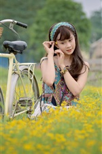 Preview iPhone wallpaper Young girl, bike, flowers, Asian