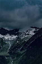 iPhone fondos de pantalla Alpes, montañas, niebla, nubes, cala, Italia paisaje de la naturaleza