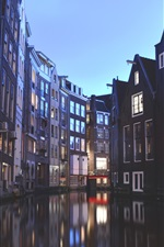 Preview iPhone wallpaper Amsterdam, Netherlands, houses, canal, lights, dusk