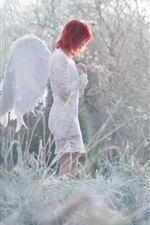 Preview iPhone wallpaper Angel girl, red hair, grass, winter