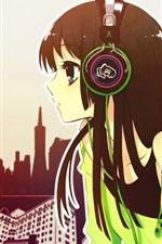 Preview iPhone wallpaper Anime girl listen music, headphones, city