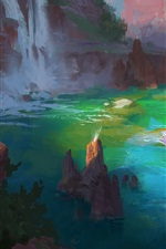 Preview iPhone wallpaper Art drawing, bathing, spa, river, rocks, trees, waterfall